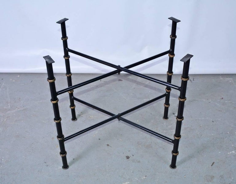 Vintage Brass Gallery Tray on Faux Bamboo Stand For Sale 2