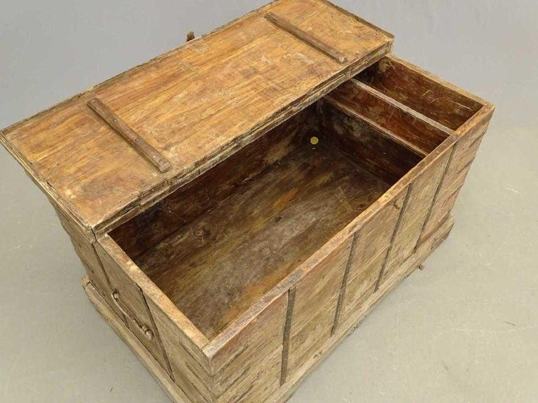 American Antique Handcrafted Strap Metal Chest or Trunk For Sale