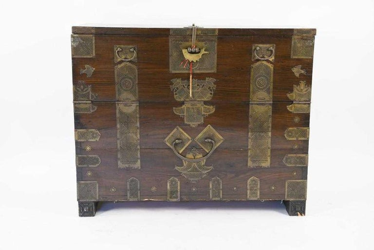 Other Antique Korean Tansu Elm Wood Chest with Brass Trim For Sale