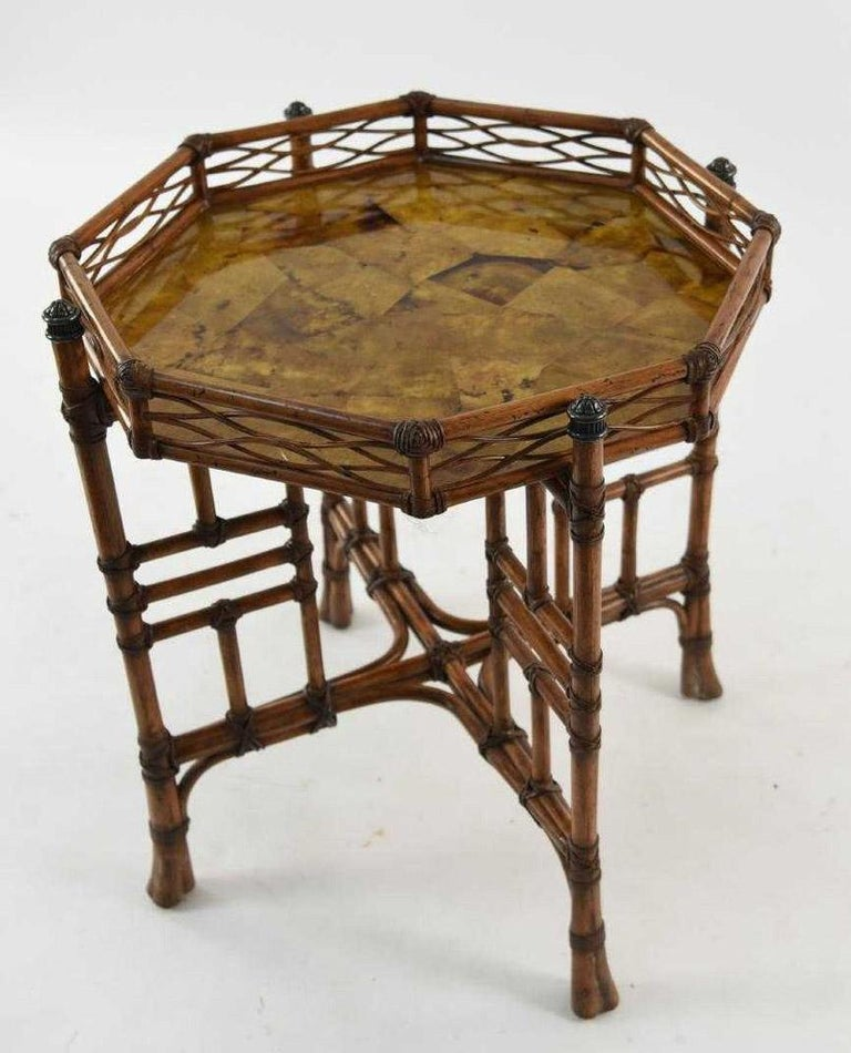 Chippendale 20th Century Octagon Faux Bamboo End or Side Table For Sale