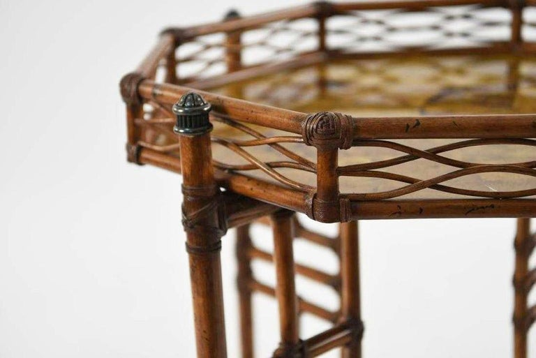 Unknown 20th Century Octagon Faux Bamboo End or Side Table For Sale