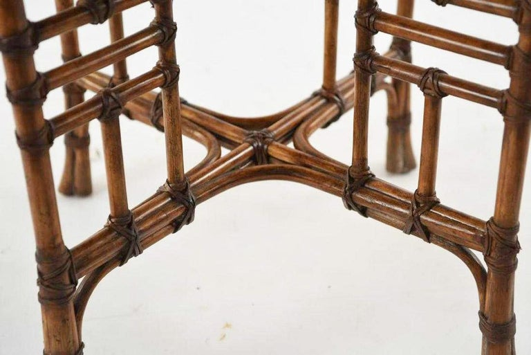 Hand-Crafted 20th Century Octagon Faux Bamboo End or Side Table For Sale