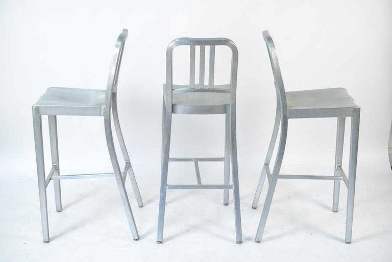 Industrial Three Emeco Bar Stools For Sale