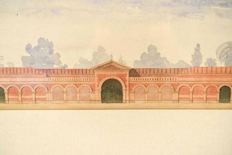 The antique neoclassical watercolor drawings are renderings within the same frame of two elongated buildings. The top view shows a center arched opening and two smaller side openings with arched blind bays in between. The lower view reveals a second