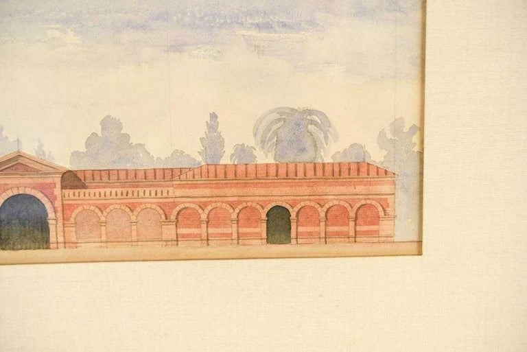 Unknown Antique Architectural Watercolor of Two Neoclassical Buildings For Sale