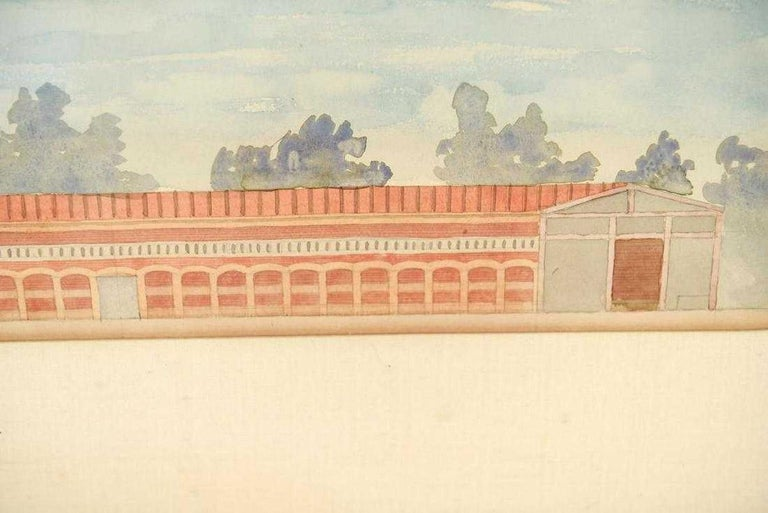 Antique Architectural Watercolor of Two Neoclassical Buildings In Good Condition For Sale In Great Barrington, MA