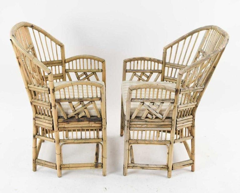 East Asian Pair of Brighton Pavilion Style Bamboo Armchairs For Sale