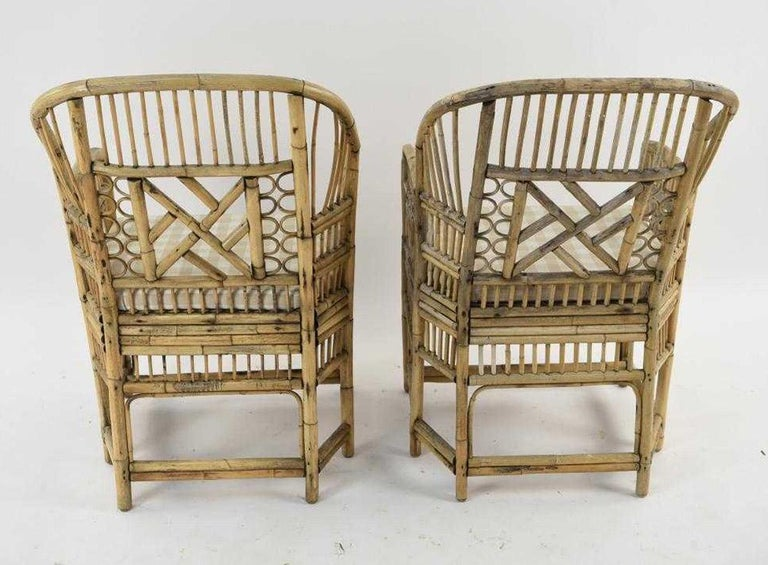 Hand-Crafted Pair of Brighton Pavilion Style Bamboo Armchairs For Sale