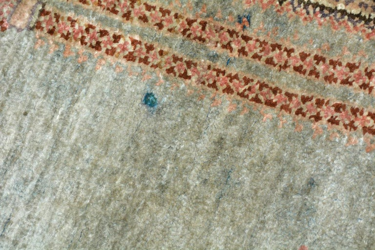 Antique Wool Oriental Scatter Rug In Fair Condition For Sale In Great Barrington, MA