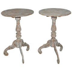 Round Swedish Style Pedestal Wine Table, Pair