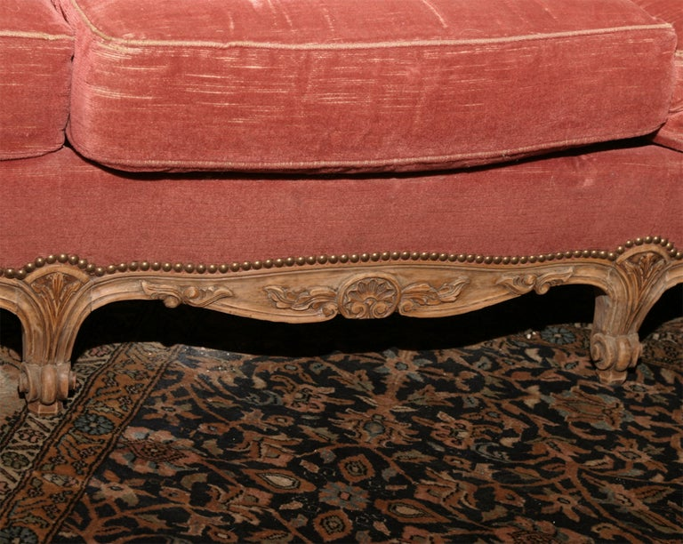 Mohair Louis XV Style Provincial Sofa For Sale