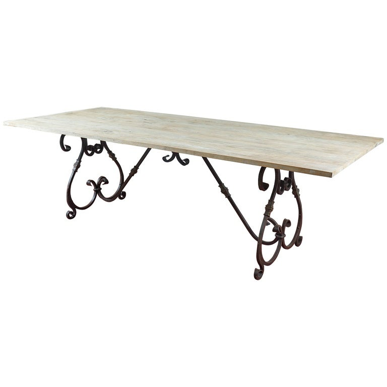 Vintage Wrought Iron Base and Teakwood Top Dining Table at ...