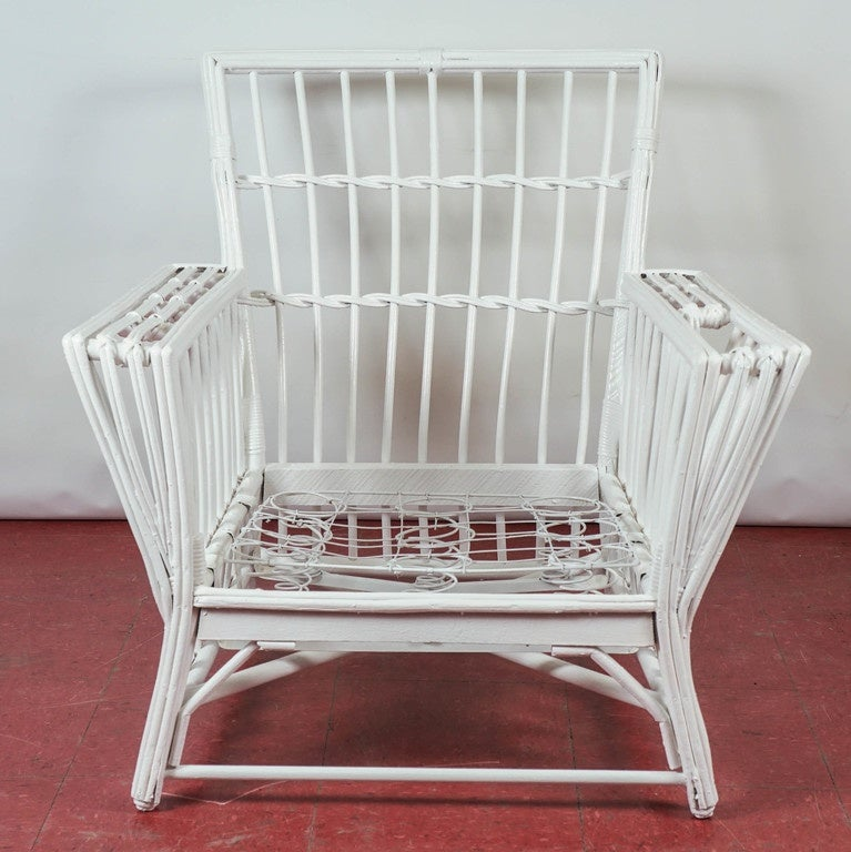 Antique Stick Wicker Armchair 2