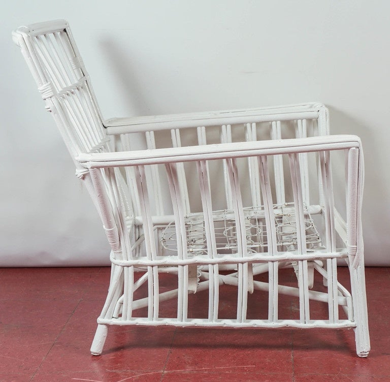 Antique Stick Wicker Armchair 3