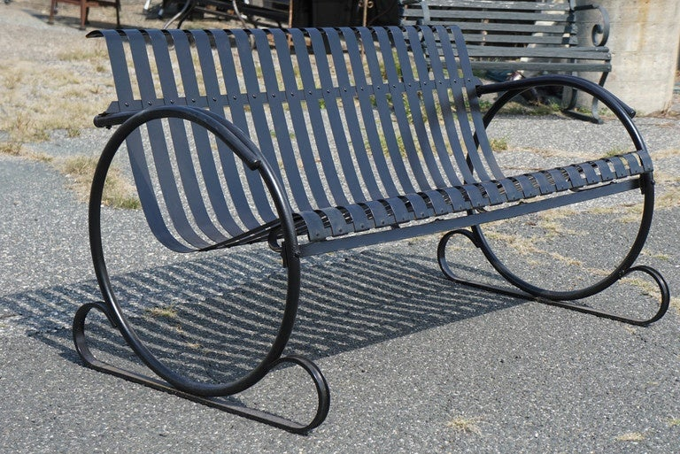 American Modern Vintage Outdoor Garden Bench For Sale