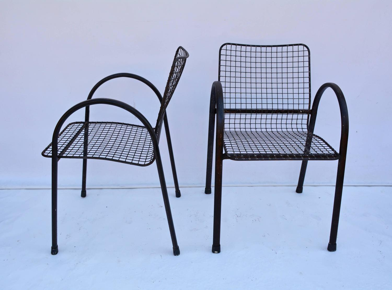 Four Patio Wrought Iron Mesh Arm Chairs For Sale at 1stdibs