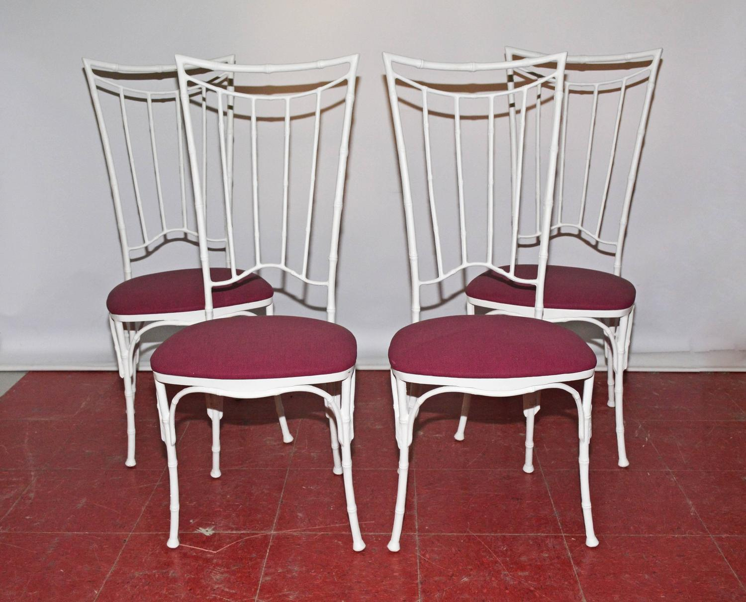 Four Painted Faux Bamboo Wrought Iron Chairs For Sale At 1stdibs