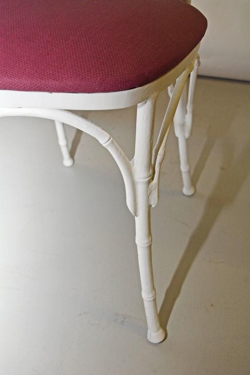 Four Painted Faux Bamboo Wrought Iron Chairs For Sale 2
