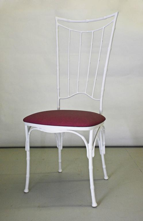 Four Painted Faux Bamboo Wrought Iron Chairs In Good Condition For Sale In Great Barrington, MA