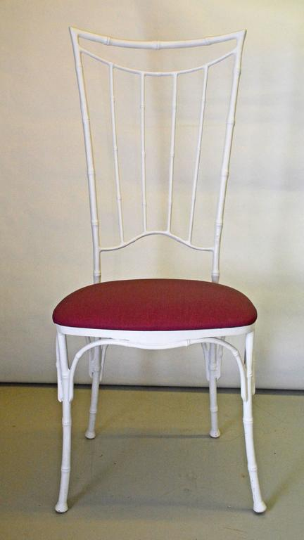 Molded Four Painted Faux Bamboo Wrought Iron Chairs For Sale