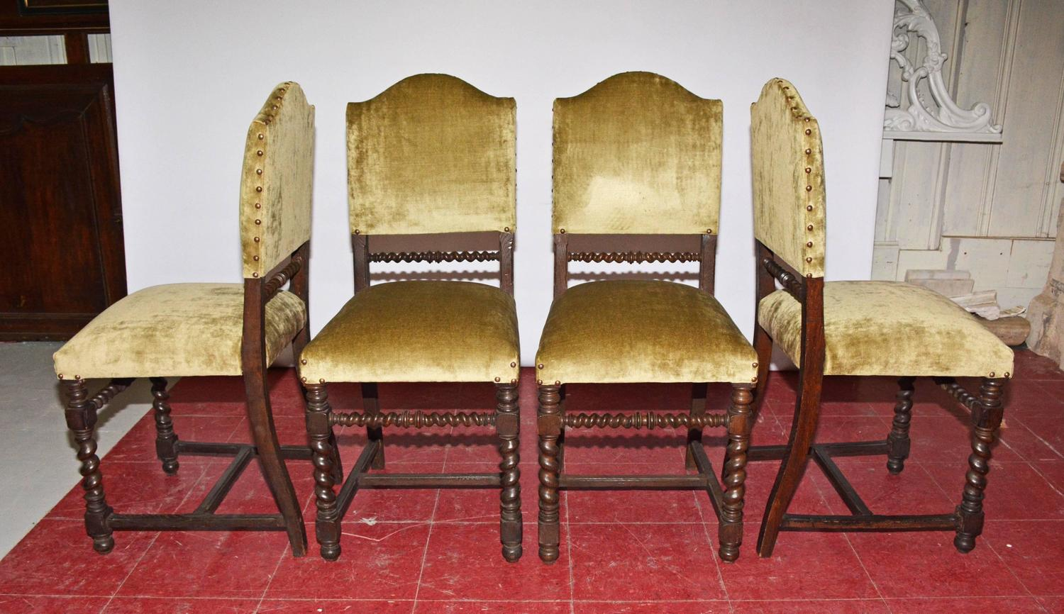 Four Antique Jacobean Style Dining Chairs For Sale At 1stdibs