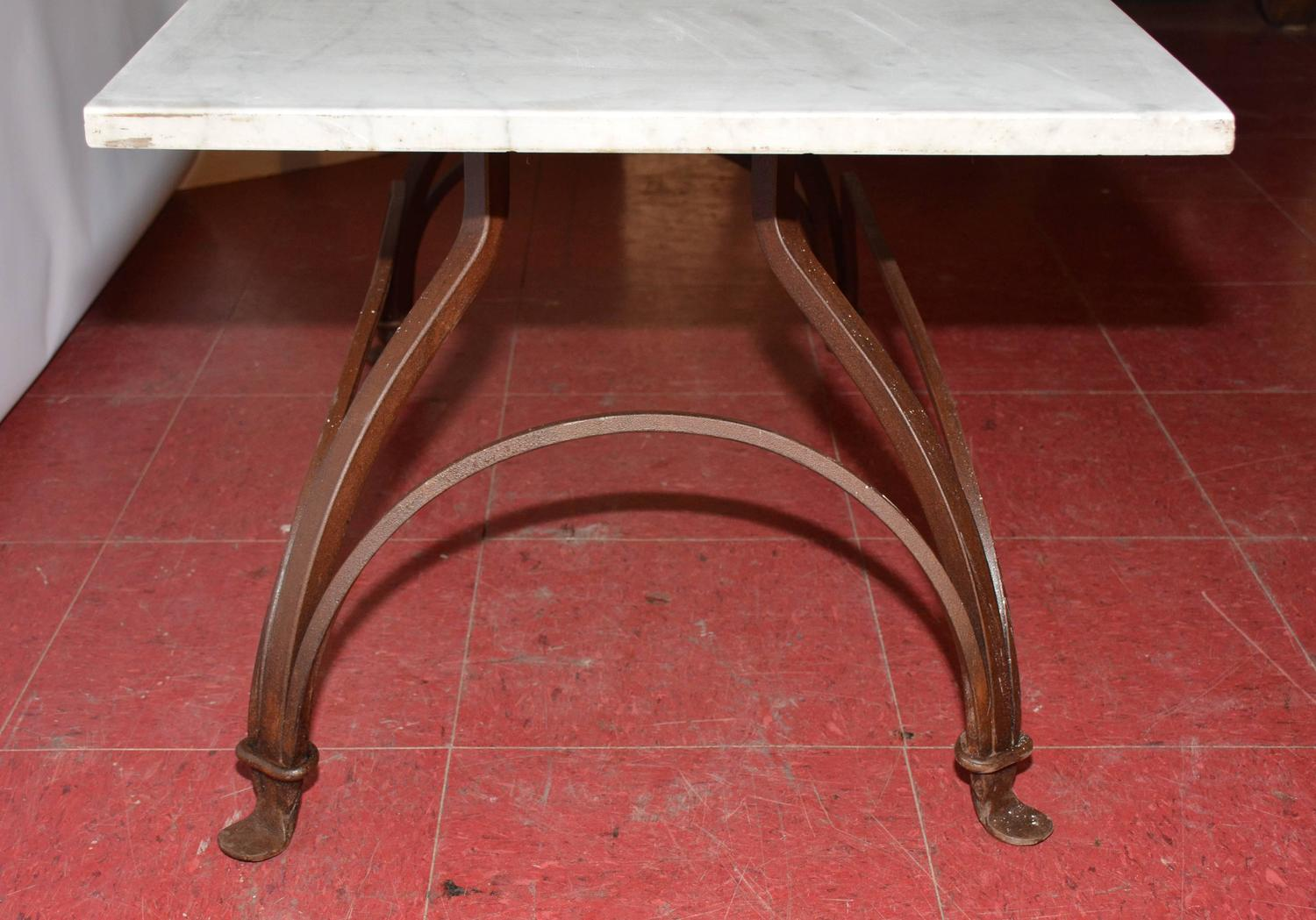 Marble and wrought iron coffee table for sale at 1stdibs for Marble and wrought iron coffee table