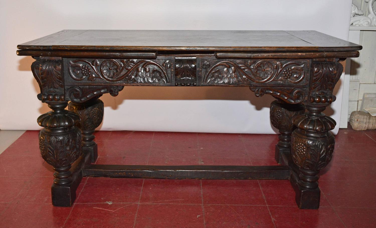 Elizabethan style hand carved oak library table for sale