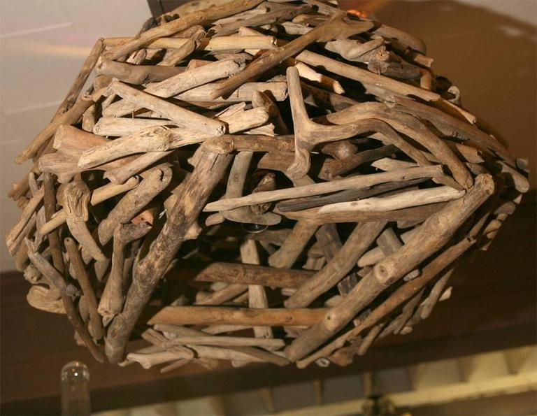 Dutch Pair of Organic Driftwood Hanging Chandeliers For Sale