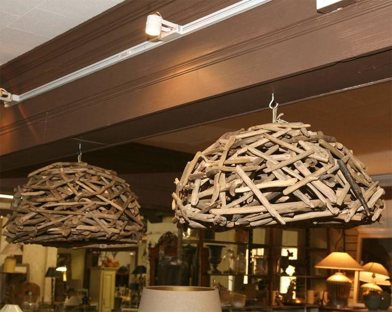20th Century Pair of Organic Driftwood Hanging Chandeliers For Sale