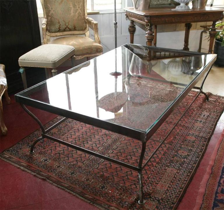 Custom-Made Glass and Polished Iron Coffee Table by BH & A 2