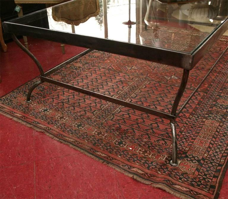 Custom-Made Glass and Polished Iron Coffee Table by BH & A 4
