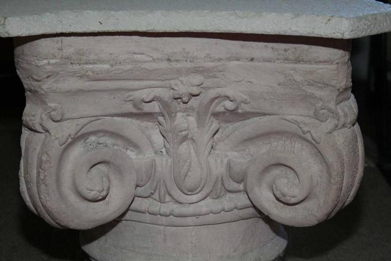Pair of Cast Concrete Capital Coffee Table or Side Table 3