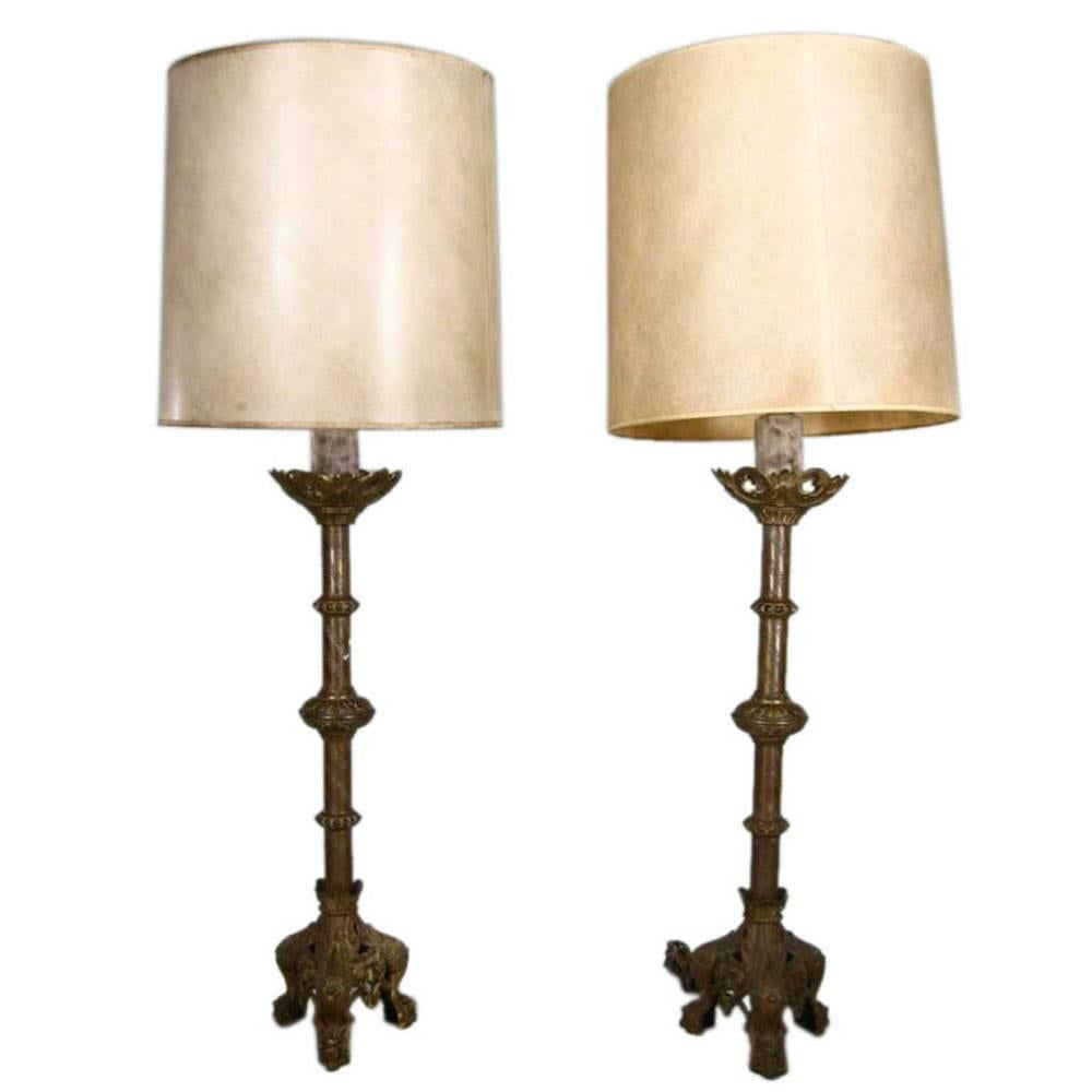 Pair of 19th Century Gothic Style Brass Lamps
