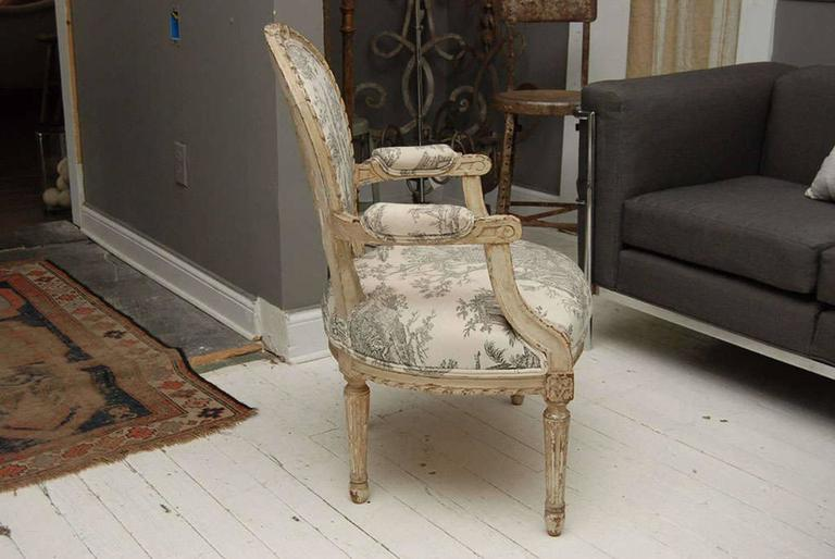 Louis XVI Style Painted Fauteuil 6