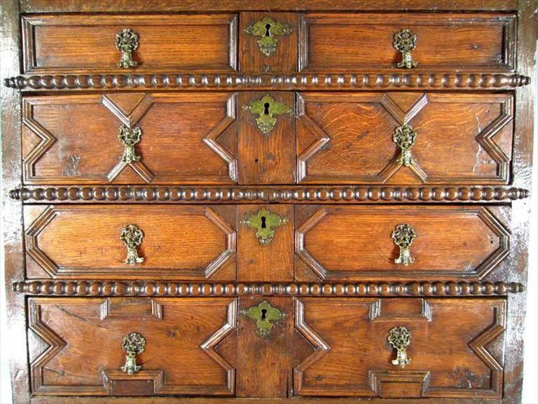 Carved Charles II Oak Chest on Stand For Sale