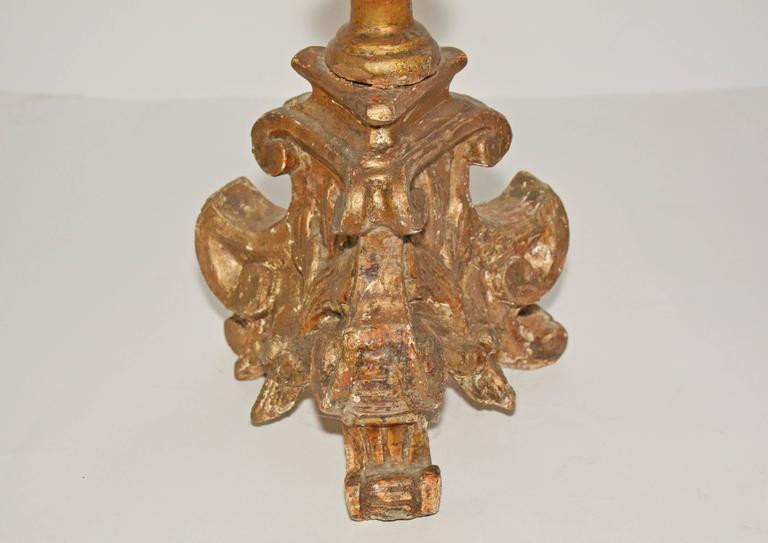 Spanish 18th Century Italian Giltwood Altar Candlesticks For Sale