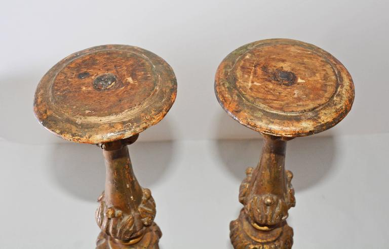 Hand-Carved 18th Century Italian Giltwood Altar Candlesticks For Sale