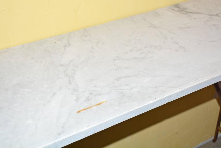 Rustic Marble and Iron Console Table In Good Condition For Sale In Great Barrington, MA