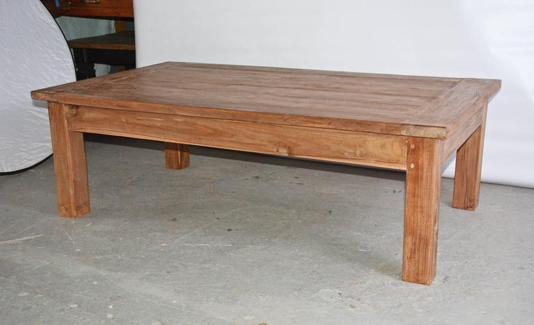 Rustic Indoor or Outdoor Teak Coffee Table For Sale at 1stdibs