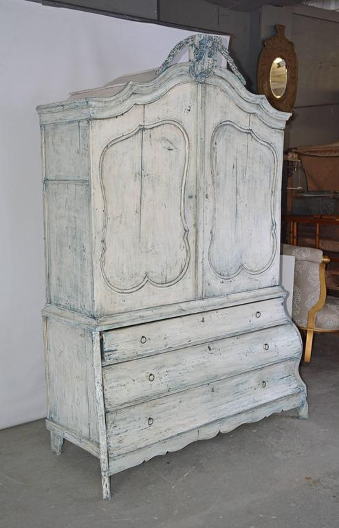 Antique Dutch Painted Country Bombe Linen Press Cabinet At