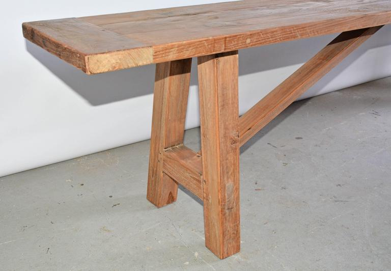Country Rustic Indoor Outdoor Teak Bench For Sale