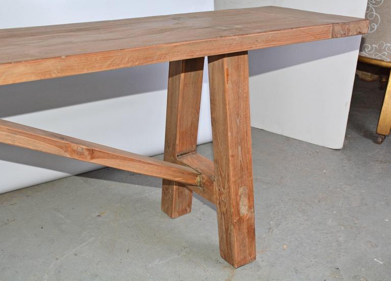 Chinese Rustic Indoor Outdoor Teak Bench For Sale