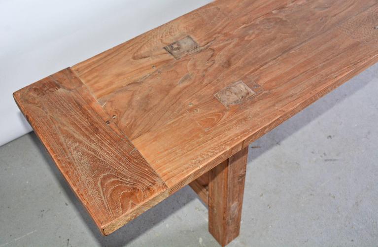 Hand-Crafted Rustic Indoor Outdoor Teak Bench For Sale
