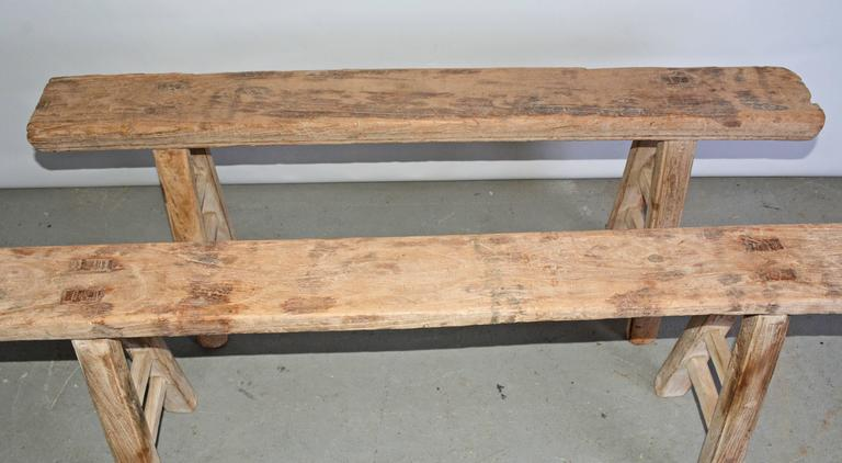 Chinese Rustic Antique Teak Bench-Sold Singly For Sale