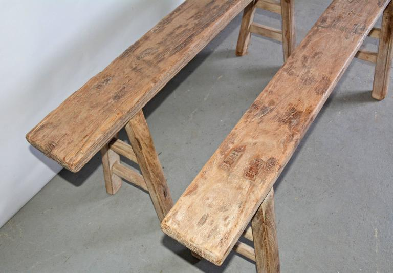 Rustic Antique Teak Bench-Sold Singly In Good Condition For Sale In Great Barrington, MA