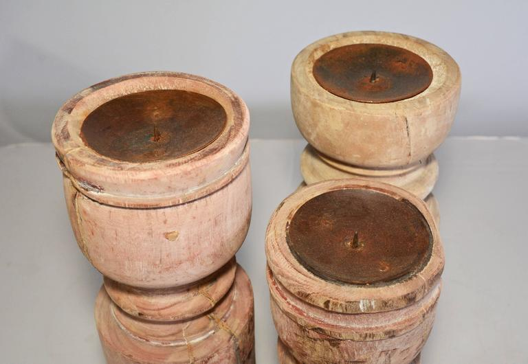 Hand-Carved Rustic Antique Wood Candle Holders For Sale