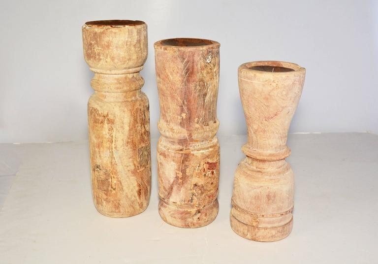 Indian Three Rustic Teak Candleholders For Sale