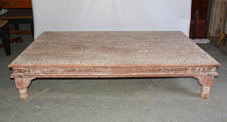 Large Indian Plank Top Coffee Table