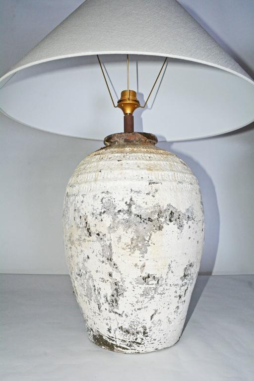 Large Chinese Storage Jar Lamps with Shades, Pair 2