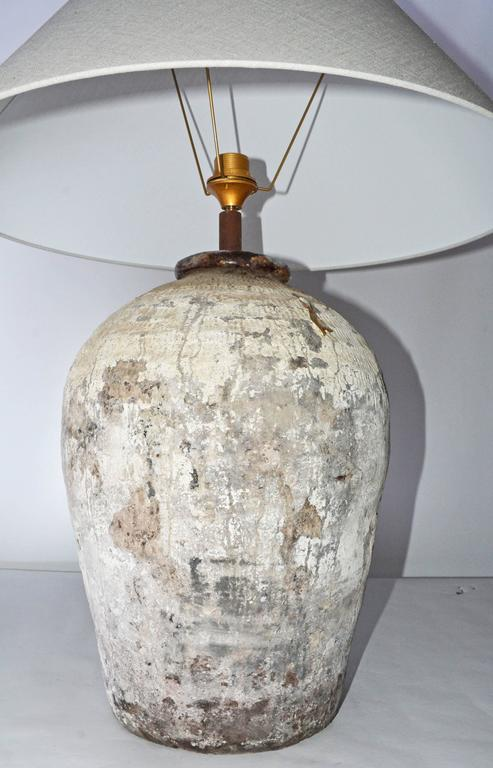 Large Chinese Storage Jar Lamps with Shades, Pair In Excellent Condition For Sale In Great Barrington, MA